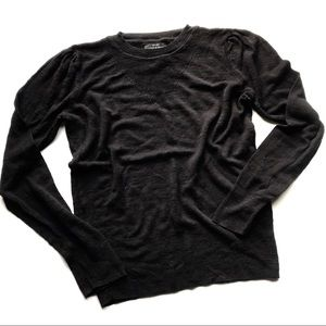 Lucky Brand Crew Neck Knit Pull Over Sweater Black